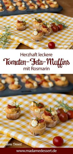 Tasty tasty tomato feta muffins with rosemary. Tomato feta muffins with fresh rosemary sprigs have a small, large and medium flavor. Spicy feta and sun-ripened tomatoes bring the full Mediterranean … Simple Muffin Recipe, Healthy Muffin Recipes, Healthy Muffins, Donut Recipes, Muffins Sains, Appetizer Recipes, Appetizers, Baby Muffins, Pizza Muffins