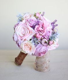 Rustic Silk Bridal Bouquet Lavender Roses Peonies by braggingbags, $110.00