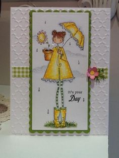 Missed out on Sue's fs day so I'm catching her today and pairing it with the cas challenge of april showers.  I love this image and Sue's sunny yellow combo with hits of green and pink.  I kept my bg white and embossed it for the cas challenge, changed up her mounting, added a bit of sparkle and a tiny flower for just a little oomph:). You can see Sue's Lolly here: http://www.splitcoaststampers.com/gallery/photo/2384221?&cat=500&ppuser=78493&perpage=96&thumbsonly=0