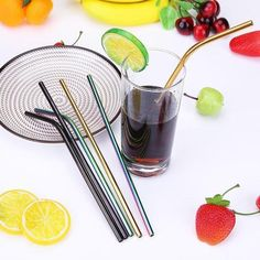 Buy Colorful Metal Straws Reusable Straws Stainless Steel Drinking Straw with Cleaner Brushes for Party Drinkware Stainless Steel Straws, Brushed Stainless Steel, Use Of Plastic, Insulated Cups, Metal Straws, Vacuum Flask, Bride Accessories, Brush Kit, Metal Bar