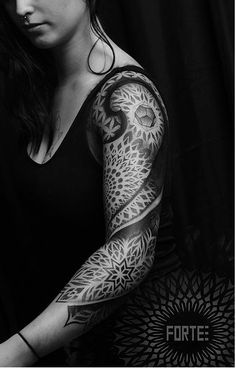 Dillon Forte, sacred geometry and pointillism tattoos. Absolutely gorgeous work