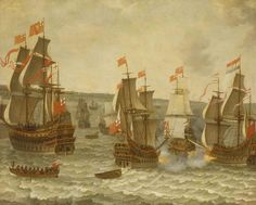 Action between ships in the First Dutch War, 1652–1654 by Abraham Willaerts, 17th century (Wikimedia)