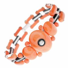 Art Deco Coral Onyx Diamond Bracelet | From a unique collection of vintage link bracelets at http://www.1stdibs.com/jewelry/bracelets/link-bracelets/