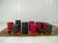 Vintage Variety of Worn Red & Black Paint Wooden by DivineOrders, $26.00