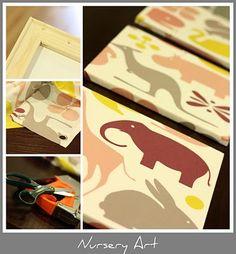 """DIY: Nursery Art -- stretched """"canvas"""""""