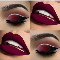 Eye Makeup Tips – How To Apply Eyeliner – Makeup Design Ideas New Year's Makeup, Red Lip Makeup, Glitter Eye Makeup, Cute Makeup, Red And Black Eye Makeup, Teen Makeup, Makeup Set, Dress Makeup, Party Makeup