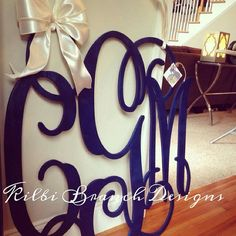 36x36 3 letter wooden monogram door hanger with bow // LARGE wooden painted monogram on Etsy, $150.00