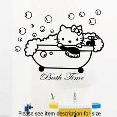 Hello Kitty Bath Time Decal Disney Stickers Bathroom tiles Decor kids Wall Art