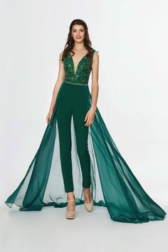 Angela & Alison - 91131 Embellished Deep V-neck Fitted Jumpsuit – Couture Candy Jumpsuit Prom Dress, Formal Jumpsuit, Fitted Jumpsuit, Designer Jumpsuits, Designer Dresses, Cute Winter Outfits, Fabulous Dresses, Mode Hijab, Prom Dresses