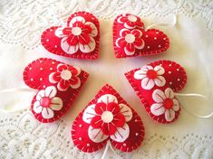Red Heart Ornament Set of Valentines day Gift, Home Decor, Mother Day Gift, Handmade Embroidery, Red White Flower Ornaments, Dog Ornaments, Heart Ornament, Handmade Ornaments, Handmade Felt, Valentine Crafts, Valentine Day Gifts, Valentines, Embroidery Hearts
