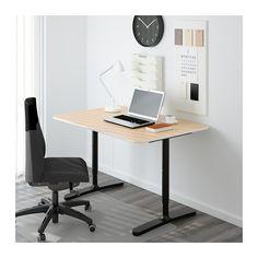 BEKANT Schreibtisch - Birkenfurnier/schwarz - IKEA