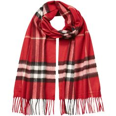 Burberry Shoes & Accessories Check Print Cashmere Scarf (€340) ❤ liked on Polyvore