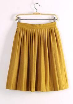 Yellow Plain Mid Waist Below Knee Wool Skirt   I'm such a sucker for retro yellow