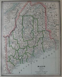 Antique MAINE Map of Maine State Map Travel by plaindealing