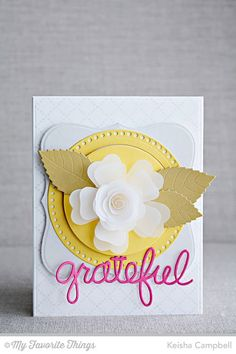 Diamonds and Dots Borders, Blueprints 19 Die-namics, Large Hybrid Heirloom Rose Die-namics, Layered Leaves Die-namics, Stitchable Dot Circle STAX Die-namics, Words of Gratitude Die-namics - Keisha Campbell #mftstamps