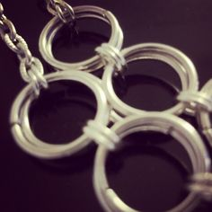 Closer look at my 5 ring necklace  #silver #chain #necklace