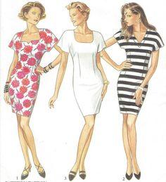 90s Womens Sheath Dress Neckline Variations New by CloesCloset