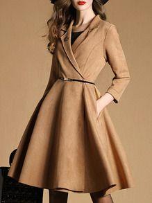 Khaki V Neck Length Sleeve Drawstring Pockets Coat Elegant Dresses, Pretty Dresses, Casual Dresses, Classy Dress, Classy Outfits, Coat Dress, Dress Up, Hijab Fashion, Fashion Dresses