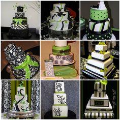 Black-white-green wedding cakes