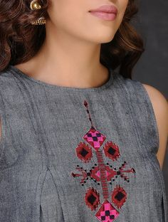 Buy Grey Red Embroidered Inverted Box Pleated Cotton Dress by Jaypore The Label In Vivid Color kurtas dresses pants and dupattas Online at Jaypore.com