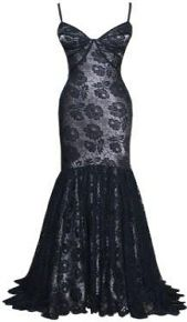 Designer Dress - Dina Bar-El's black lace gown fitted bodice and flared fishtail skirt