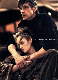 Jeremy Irons & Amber Valletta, Donna Karan Fall 2001 ad campaign, shot by Mikael Jansson