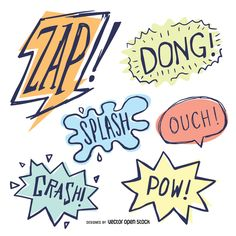 Collection of doodle comic signs featuring sound effects like zap or splash in pastel tones. Perfect in attention grabbing posters, cards