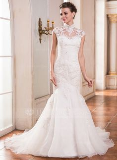 Wedding Dresses - $299.99 - Trumpet/Mermaid High Neck Court Train Organza Lace Wedding Dress With Beading Sequins (002055081) http://jjshouse.com/Trumpet-Mermaid-High-Neck-Court-Train-Organza-Lace-Wedding-Dress-With-Beading-Sequins-002055081-g55081