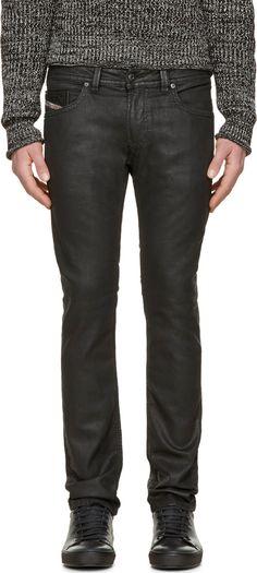 Black Coated Thavar-Ne Jogg Jeans - Diesel