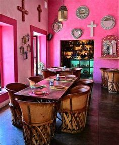Home Designs And Decor , Mexican House Interior : Pink Wall Mexican House Interior