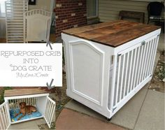 MyLove2Create-Repurposed crib into a dog crate