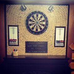 DIY Wine cork dart board hunger games dry erase Man Cave Diy, Man Cave Home Bar, Dry Erase Paint, Game Room Basement, Basement Kitchen, Basement Bathroom, Basement Ideas, Bar Games, Wine Cork Crafts