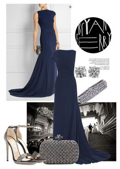 Asymmetric stretch-crepe navy gown by ivanoe on Polyvore featuring polyvore moda style Vionnet Jimmy Choo Bottega Veneta Tiffany & Co. fashion clothing
