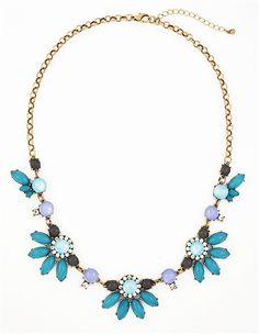 Fanned Gem Bib - aqua blue floral necklace by Shamelessly Sparkly