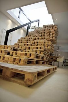 Advertising agency in Amsterdam. Stairs made of pallets!