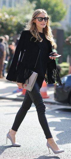 #street #style Olivia Palermo black everything @wachabuy
