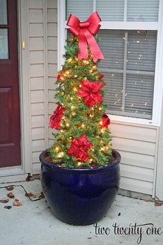 a tomatoe cage, 3 strands of garland, a box of 100 lights, silk poinsettas, a bow, and zip ties