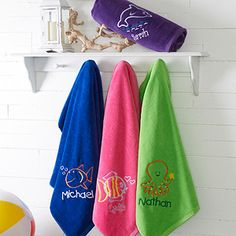 These Embroidered Beach Towels are perfect for the kids this summer! You can pick any color towel and choose a dolphin, octopus, a girl fish or a boy fish!