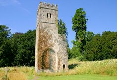 The ruined tower.  All that remains of the original medieval church at Dartington Hall.