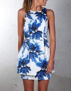 Cute Blue Floral Print Double Layer Slim Sleeveless Skater Dress