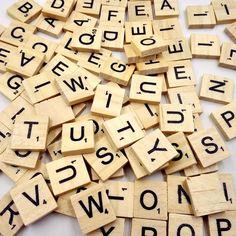 100 PCs Wooden Alphabet Scrabble Tiles Black Letters Crafts Wood #Unbranded