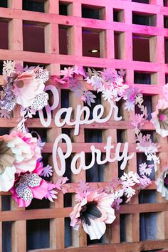 "Oh So Beautiful Paper: Paper Party 2014! Paper flowers  made from Mohawk paper and Smock gift wrap / ""Paper Party"" letters made with Mohawk paper / Botanical garland by Alexis Mattox Design / Photo Credit: Charlie Juliet Photography #paperparty2014"