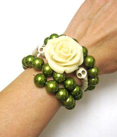 Day of the Dead Bracelet Sugar Skull Jewelry by sweetie2sweetie, $24.99