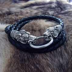 Leather Silver Wolves Bracelet or Cord 2 in 1. Bear Bracelet. Wolves Cord.