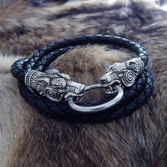 Leather Silver Wolves Bracelet or Cord 2 in 1. Bear Bracelet. Wolves Cord.