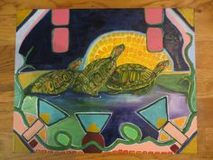 """Reworked Slider Turtles with Mosaic Sun by Susie Gwen Criswell 20""""x16"""""""