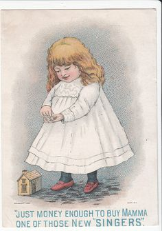 Victorian Trade Card RARE Singer Sewing Machine Just Money Enough C 1880s