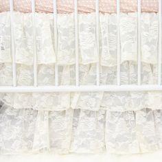 Caden Lane Baby Bedding - Ivory Lace Ruffle Crib Skirt, $148.00 (http://cadenlane.com/ivory-lace-ruffle-crib-skirt/)