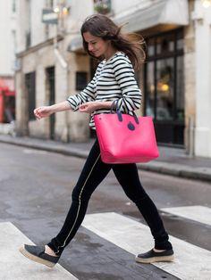"""ネイビーとピンクの相性は200% 「ロンシャン」のリバーシブルトートに、パリ&TOKYOの""""it""""ガールが夢中!"""