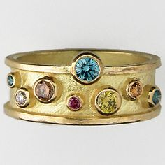 Barbara Heinrich Ring, 18K yellow gold raised edge band with textured surface and multi-color diamonds sprinkled, approximately 0.52ct tw♥≻★≺♥